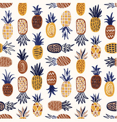 Modern seamless pattern with pineapples of various vector