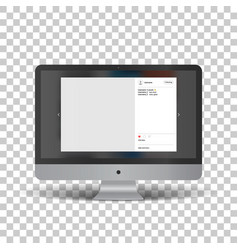 Monitor with social network photo frame vector