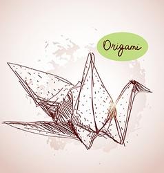Origami paper cranes sketch line on beige vector image