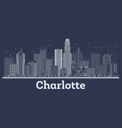 Outline charlotte nc city skyline with white vector