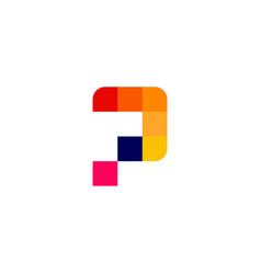 p letter pixel digital logo icon vector image