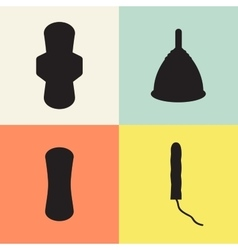 Pad tampon and menstrual cup set vector
