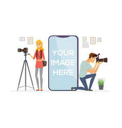photographers at work - cartoon people characters vector image