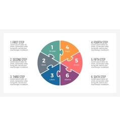 Pie chart Presentation template with 6 steps vector