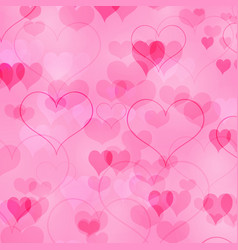 pink valentines day background with in love hearts vector image