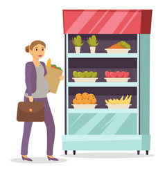 pregnant lady go home from work with shopping bag vector image