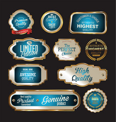 Premium quality gold and blue labels vector