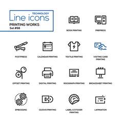 printing works - line design icons set vector image
