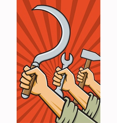 Raised Fists Holding Tools vector