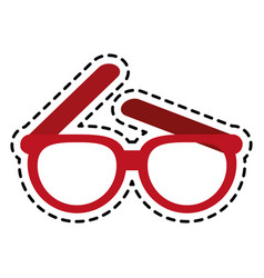 Red frame glasses icon image vector