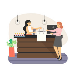 Retail store counter happy woman shopping in vector