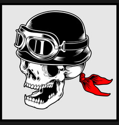 Retro biker skull head wearing vintage vector
