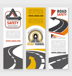 Road safety service company banners vector