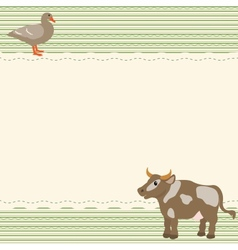 Rural style card with cow and goose vector image