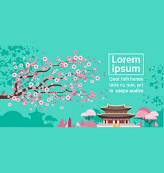 Sakura blossom over korea temple or palace vector