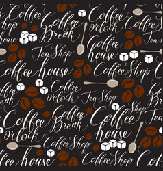 seamless pattern on coffee theme vector image