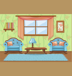Set cartoon cushioned furniture living room vector