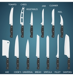 Set flat icons of kitchen knives with signature vector
