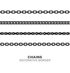 set of black isolated of chains vector image