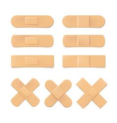 Set realistic plaster bandage beige medical vector