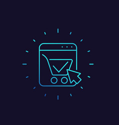 Shopping cart completed order e-commerce icon vector