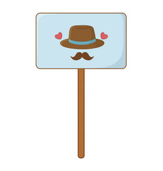 sign with hat and moustache vector image