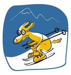 Skiing Dog vector image
