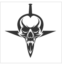 Skull with Sword Stuck vector image