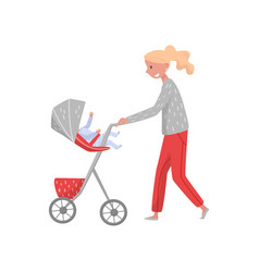 smiling woman walking outdoor with infant baby in vector image