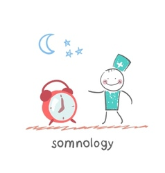 somnology stands next to the alarm vector image