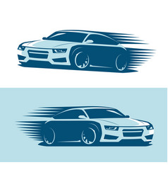 Sports car in motion logo abstract art vector