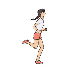 Sporty woman character jogging or running sketch vector