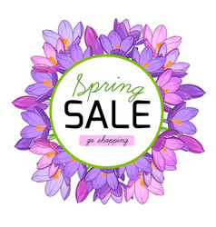 spring sale promo banner crocus flowers wreath vector image