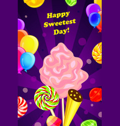 sweetest day concept background cartoon style vector image
