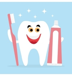 tooth and friends toothbrush toothpaste vector image