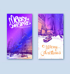 Trendy cover template winter city new york usa vector