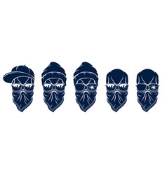 Urban stylish skull logos or icons set aggressive vector