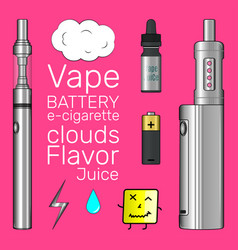 Vape shop set pinky background vector