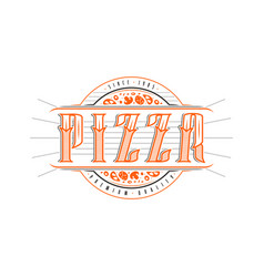 vintage label for pizza vector image