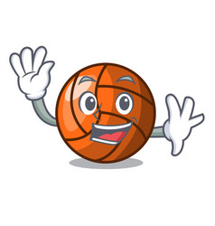 Waving volleyball character cartoon style vector