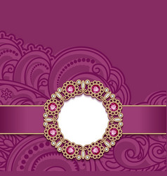 Wedding card with gold jewelry decoration vector