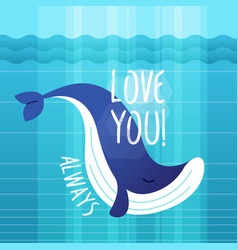 whale - modern phrase flat vector image