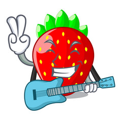 With guitar fresh ripe strawberry isolated on vector