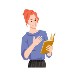 Woman feel with book empathizes reading novel vector