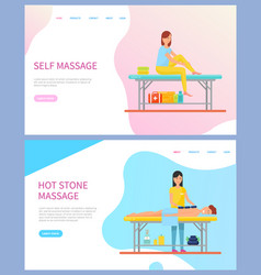 Woman making massage treatment procedures vector