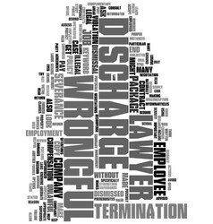 Wrongful discharge lawyer text word cloud concept vector