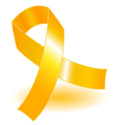 Yellow awareness ribbon and shadow vector image