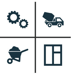 building icons set collection of cogwheel carry vector image vector image