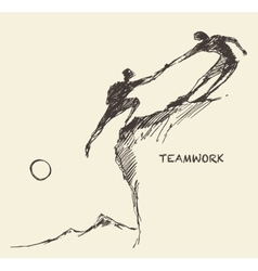 Draw helping man climb teamwork partnership sketch vector image