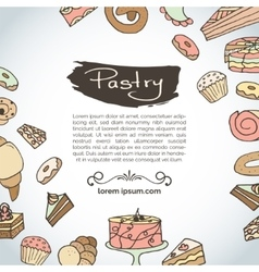 Hand drawn pastry Bakery products vector image